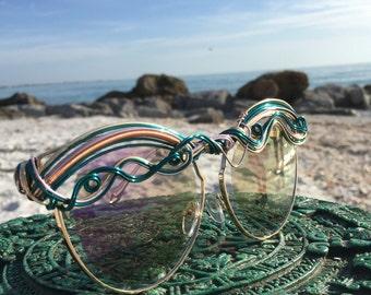 New Style Pink Gold Teal CAT EYE Sunglasses / SPUNGLASSES / One of a Kind Glasses Eyewear Sunnies / Retro Mod Artisan Glasses Sun Glasses