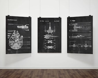 Star Wars Patents Set Of 3 Prints, Star Wars Prints, Star Wars Posters,