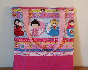 """Customized library bag """"The dolls of the world""""."""