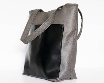 Carry Tote bag - Black bag - Shoulder bag - Black Faux leather bag - Black handbag - Fully Lined bag - Made in Canada - By BeEmerald