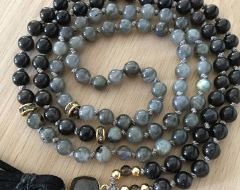 Spiritual Connection Mala, Black Moonstone, Labradorite, high vibrational gemstones, intuition, gemstone mala, spiritual jewelry, mala beads