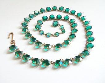 Crystal Necklace - Teal Rhinestone Necklace