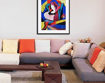 Original abstract painting on paper, Gouache abstract painting on paper original in red blue yellow colors Wall Art artwork