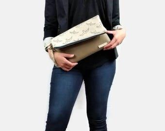 Womens Casual Clutch - Aztec Print Purse, Fold Over Clutch, Envelope Clutch, Aztec Print Handbag, Two Tone Purse,