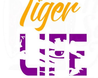 LSU tiger life svg dxf and png files