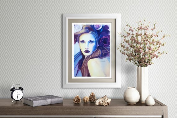 Beautiful woman with flowers, glicée print of original oil painting, fine art, elegant gift idea, home office decoration, modern decore.