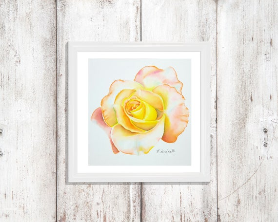 Yellow rose, delicate watercolor, original artwork by Francesca Licchelli, gift idea for her, traditional botanical home office decoration.