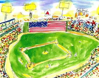 FENWAY PARK by Jane Staffier**Red Sox*Fenway Park Art*Sports Art*Greeting Cards*JaneStaffierArt*Boston*Baseball art*Baseball*Jane Staffier*
