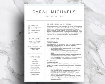 Professional resume template for Word & Pages | CV Template | 1, 2, 3 Page Resume with Cover Letter | A4 and US Letter | Instant Download