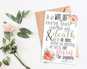 Printable Card Revelation 21:4 digital Instant Download get well sympathy encouragement gift card for her scripture inspirational card