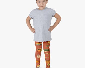 My 1st thanksgiving - Little girl leggings - Turkey leggings - Pumpkin leggings - Orange leggings - Kids leggings - Girls leggings