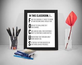 Focus Quotes, Classroom Decor, Classroom Decoration, Classroom Sign, Classroom Posters, Education Poster, Education Quote