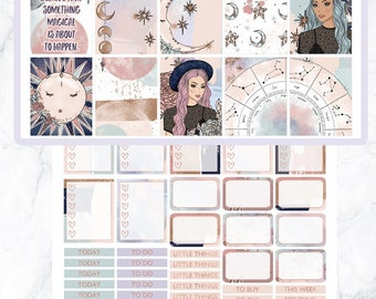 Printable Planner Stickers, Celestial, Fantasy, Magic, Floral, weekly kit, ECLP, lavieprints, sale, cutfiles, fashion girl, glam stickers