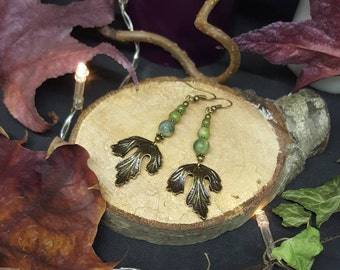 Lothorien Green Leaf - Tolkien - leaf - Elf - forest - green jade - nature - hippie - gypsy earrings