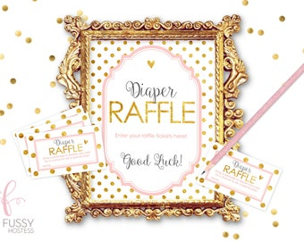 Diaper Raffle Sign, Ticket, Baby Shower Games, Printable Game, Instant Download, Baby Shower Girl, Printable Baby Shower Game, Pink and Gold