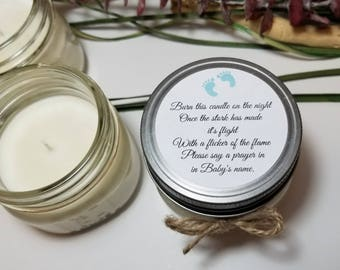 12 - 4 oz Baby Boy Shower Favors - Baby Shower Candles - Burn this Candle - Personalized Baby Shower Prizes - Gift for Guests - Soy Candle