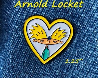 "Hey Arnold Love - Helga's Arnold Locket soft enamel pin 1.25"" / Nickelodeon / 90s"