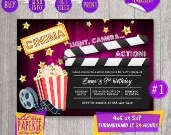 Movie invitation, Movie Night Invitation, Movie party invite, Cinema party invite, Movie Birthday Invitation, Movie Invitation printable
