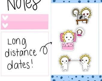 Mini-- Long Distance Dates| Video Call| Video Chat| Phone Call| Phone Date| Long Distance Relationship Stickers (M12)