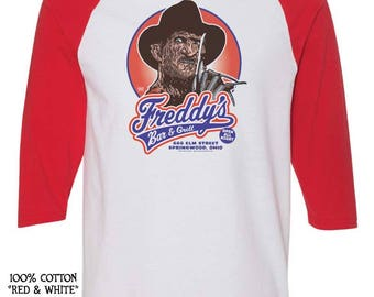 FREDDY'S Bar & Grill - pre shrunk 100% cotton jerseys and short sleeve t-shirts - Freddy Krueger - Nightmare On Elm Street