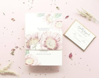 Astrantia Wedding Invitation / Rustic Invite / Belly Band / Wedding Stationery / Wedding Invite / Invitation Set / Wedding Invitations