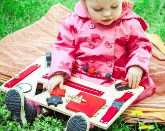 Montessori toddler Busy board, Latch board, Fine motor skills, Sensory board, Toy for travel, 1 birthday present, Busy boards, Latch toy