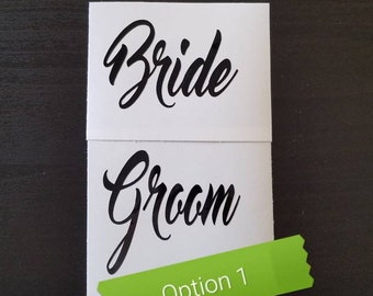 Bride & Groom decal set - Mr and Mrs decals. Wedding, reception or honeymoon decals,  wine glass decal, wedding decor, reception signs.