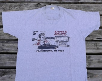 Vintage 1984 James Dean Memorial Run, Hot Rod Car Show / Fairmount, IN / grey t-shirt Made in USA by Screen Stars / large