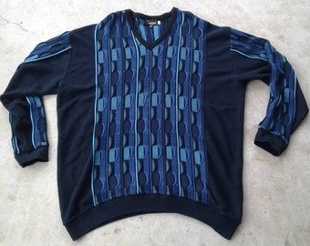 Vintage 80's / 90's Textured 3D Tosani Blue Teal Turquoise Sweater Made in Canada XXL