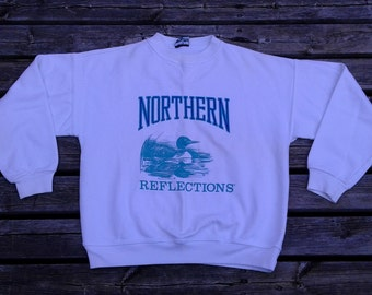 Beautiful DEADSTOCK Vintage 80's / 90's Northern Reflections White/Teal/Purple Crew Neck Sweatshirt Made in Canada