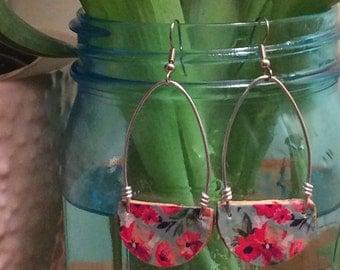 Spring Floral Loop Champagne Cork Earring