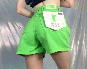 90s Lime Green High Waisted Shorts   Size 5
