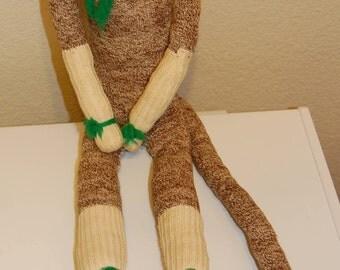 Vintage Handmade 22'' Long 1970's Retro Sock Monkey