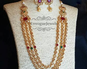 RANI HAAR SET Indian Wedding Jewelry Red Green Necklace Gold