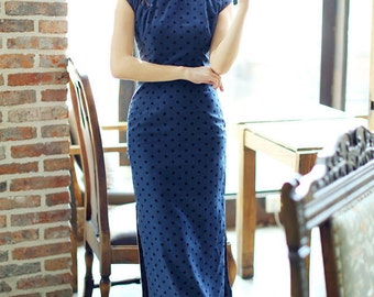 Contemporary Chinese Qipao / Blue / Polkadot / Full Length / Chinese Cheongsam / Traditional Cut / S,M,L,XL