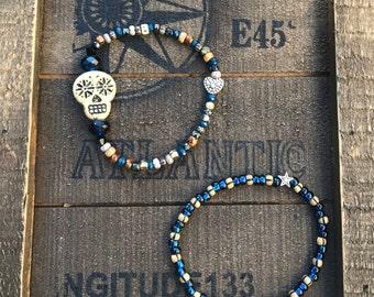 Day of the Dead Czech Glass Stretch Bracelets, set of 2, Dia de los Muertos, Sugar skull jewelry