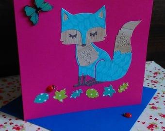 Set of 3 Handmade Fox Cards. Greeting card, birthday card, blank card, die cut card, paper cut card.