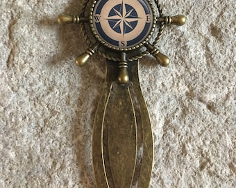 Vintage Compass Nautical Glass Dome Round Cabochon Bookmark Gift UK