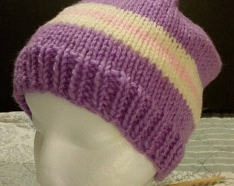 Knit Purple and Pink Beanie
