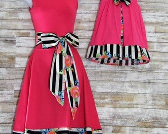 """Mother and Daughter matching Dress.""""Rose""""Matching mommy and me Outfits.Mother daughter First Birthday Fashion"""