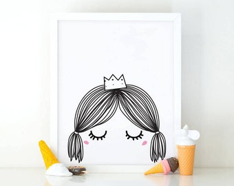 Little princess, sleepy eyes, Girl Wall Art, Nursery Print, girls room Decor, Nursery wall Art, Kids Room, Crown print, Digital Download