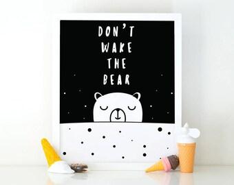 Don't wake the bear, Nursery Art, Instant Download, Room Decor, Nursery print, Good night print, Printable art, wall art, bedroom wall art