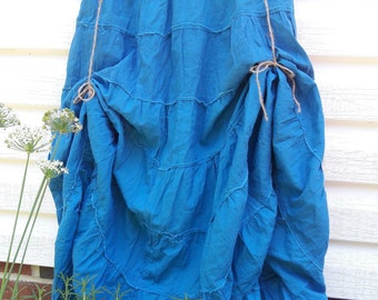 Rustic Renaissance Skirt with Jute Hikes, Blue Peasant Skirt