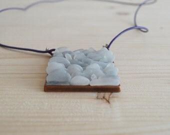 White beach glass square pendant necklace