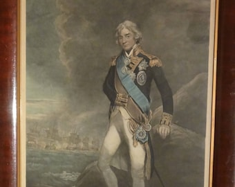antique lithograph Admiral Nelson 19th Royal marine scene fleet command