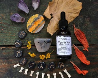 Energy Tincture Vigor& Vim / Organic Adaptogens Astragalus Eleuthero Ginger Turmeric Herbal Extract / Vitality Stamina Qi / Fatigue Stress