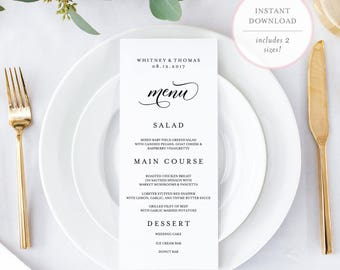 Menu Card Template. Wedding Menu Template. Printable Wedding Menu.  Printable Menu. Editable Wedding Menu Template. Editable Menu. (BR)