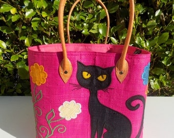 Straw bag, shoulder bag beach bag pink, fuchsia, floral, black cat, basket, beach, shopping, door handles, leather, market bag, beach, vacation