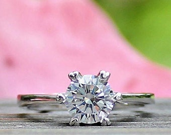 Engagement ring, Silver, Solitaire Round Cut Engagement Ring, Promise Ring, Bridal, Sterling Silver, 1.25ct.Lab made Diamond,OLIVIA