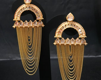 Indian Earrings - Pakistani Jewelry - Chandelier Earrings - Kundan Earrings - Kundan Jewelry - Polki Jewelry - Indian Bridal - Bollywood -